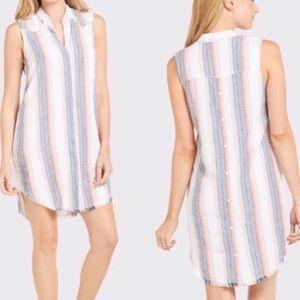 Anthro Cloth & Stone Striped High-Low Shirt Dress